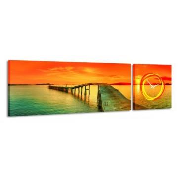 2-dielny obraz s hodinami, Sunset paradise, 158x46cm