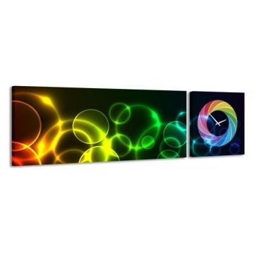 2-dielny obraz s hodinami, Rainbow, 158x46cm