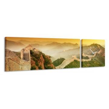2-dielny obraz s hodinami, Čínsky múr, 158x46cm