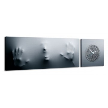 2-dielny obraz s hodinami, Duch, 158x46cm