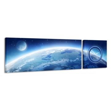 2-dielny obraz s hodinami, Zem, 158x46cm