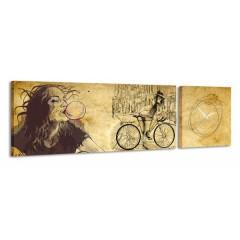 2-dielny obraz s hodinami, Bike, 158x46cm