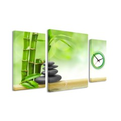 3-dielný obraz s hodinami, Zen 2, 95x60cm