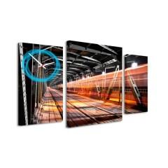 3-dielný obraz s hodinami, Tunel, 95x60cm