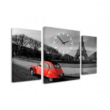 3-dielný obraz s hodinami, Paris 2, 95x60cm