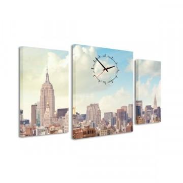 3-dielný obraz s hodinami, NYC Downtown, 95x60cm