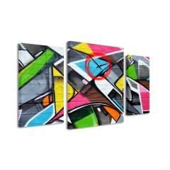 3-dielný obraz s hodinami, Graffiti, 95x60cm