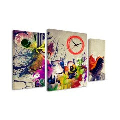 3-dielný obraz s hodinami, Farby, 95x60cm