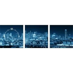 3-dielny obraz s hodinami, SAN FRANCISCO Panorama, 30x105cm