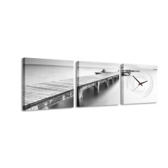 3-dielny obraz s hodinami, Bridge to Nowhere, 30x105cm