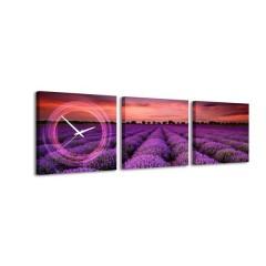 3-dielny obraz s hodinami, Purple, 30x105cm