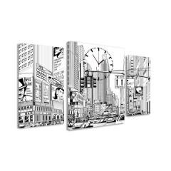 3-dielny obraz s hodinami, ZEICHNUNG CITY, 60x95cm
