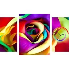 3-dielny obraz s hodinami, Ruža, 60x95cm