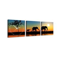 3-dielny obraz s hodinami, Slony, 35x105cm