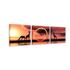 3-dielny obraz s hodinami, Žirafy, 35x105cm
