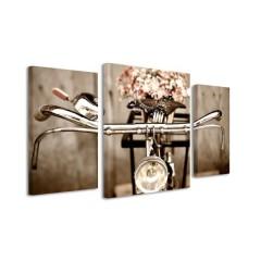 3-dielny obraz s hodinami, Bicykel, 60x95cm