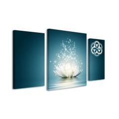 3-dielny obraz s hodinami, LOTUS FLOWER, 60x95cm