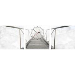 3-dielny obraz s hodinami, Most v oblakoch, 35x105cm