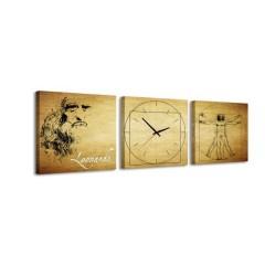 3-dielny obraz s hodinami, Leonardo, 35x105cm