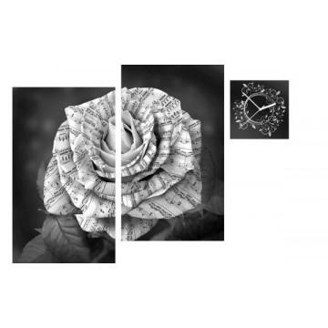 3-dielny obraz s hodinami, Irregular Music rose, 90x60cm