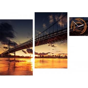 3-dielny obraz s hodinami, Irregular Bridge sunset, 90x60cm