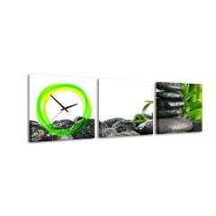 3-dielny obraz s hodinami, Zen, 35x105cm