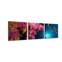 3-dielny obraz s hodinami, Pod vodou, 35x105cm