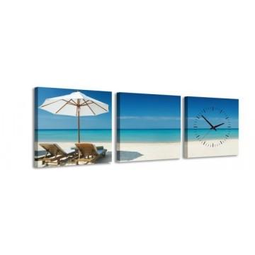 3-dielny obraz s hodinami, Beach, 35x105cm