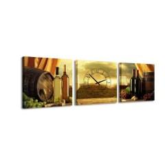 3-dielny obraz s hodinami, Vinica, 35x105cm