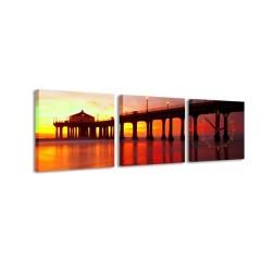 3-dielny obraz s hodinami, Sunset, 35x105cm
