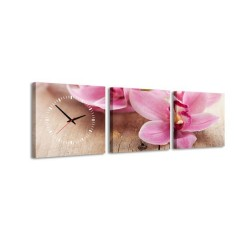 3-dielny obraz s hodinami, Pink, 35x105cm