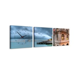 3-dielny obraz s hodinami, Voda, 35x105cm