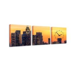 3-dielny obraz s hodinami, L. A. Sunset, 35x105cm