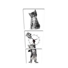 3-dielny obraz s hodinami, Kitty, 35x105cm