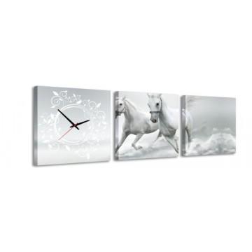 3-dielny obraz s hodinami, Kone, 35x105cm