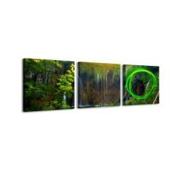 3-dielny obraz s hodinami, Príroda, 35x105cm