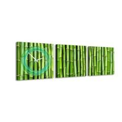 3-dielny obraz s hodinami, Bambus, 35x105cm