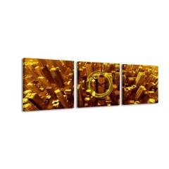 3-dielny obraz s hodinami, Gold City, 35x105cm