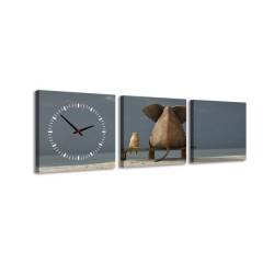 3-dielny obraz s hodinami, Priatelia, 35x105cm