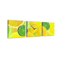 3-dielny obraz s hodinami, Citrus, 35x105cm