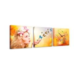 3-dielny obraz s hodinami, Motýle, 35x105cm