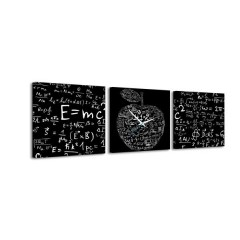 3-dielny obraz s hodinami, Tabuľa, 35x105cm