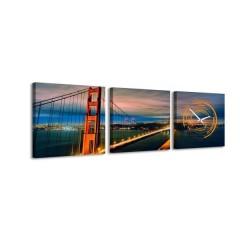 3-dielny obraz s hodinami, Golden Gate, 35x105cm