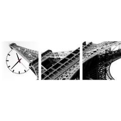 3-dielny obraz s hodinami, La tour eiffel, 35x105cm
