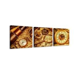 3-dielny obraz s hodinami, Old time, 35x105cm