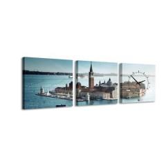 3-dielny obraz s hodinami, City Island, 35x105cm