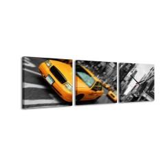3-dielny obraz s hodinami, Žltý taxík, 35x105cm