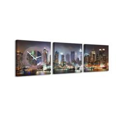 3-dielny obraz s hodinami, TIMES SQUARE, 35x105cm