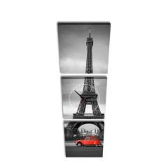 3-dielny obraz s hodinami, Paris, 35x105cm