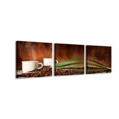 3-dielny obraz s hodinami, Čas na kávu, 35x105cm